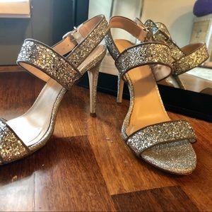 J. Crew Silver Glitter Heels